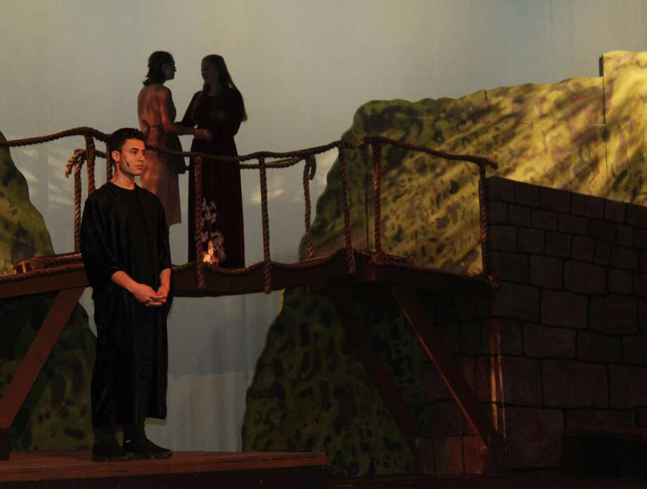 "Fairfield Ludlowe High School students rehearsed the school's fall drama, ""The Bridge of San Luis Rey,"" on Nov. 30, 2016 in Fairfield, Conn. Performances will be held Dec. 2 at 8 p.m. and Dec. 3 at 2 p.m. and 8 p.m. Photo: Laura Weiss / Hearst Connecticut Media / Fairfield Citizen"