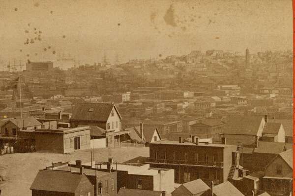 View from Telegraph Hill Looking Southeast n.d. U.S. Marine Hospital (Spear and Harrison), Selby Shot Tower (First and Howard) and Rincon Hill in distance. Telegraph Hill houses foreground. Courtesy of  OpenSFHistory.org .