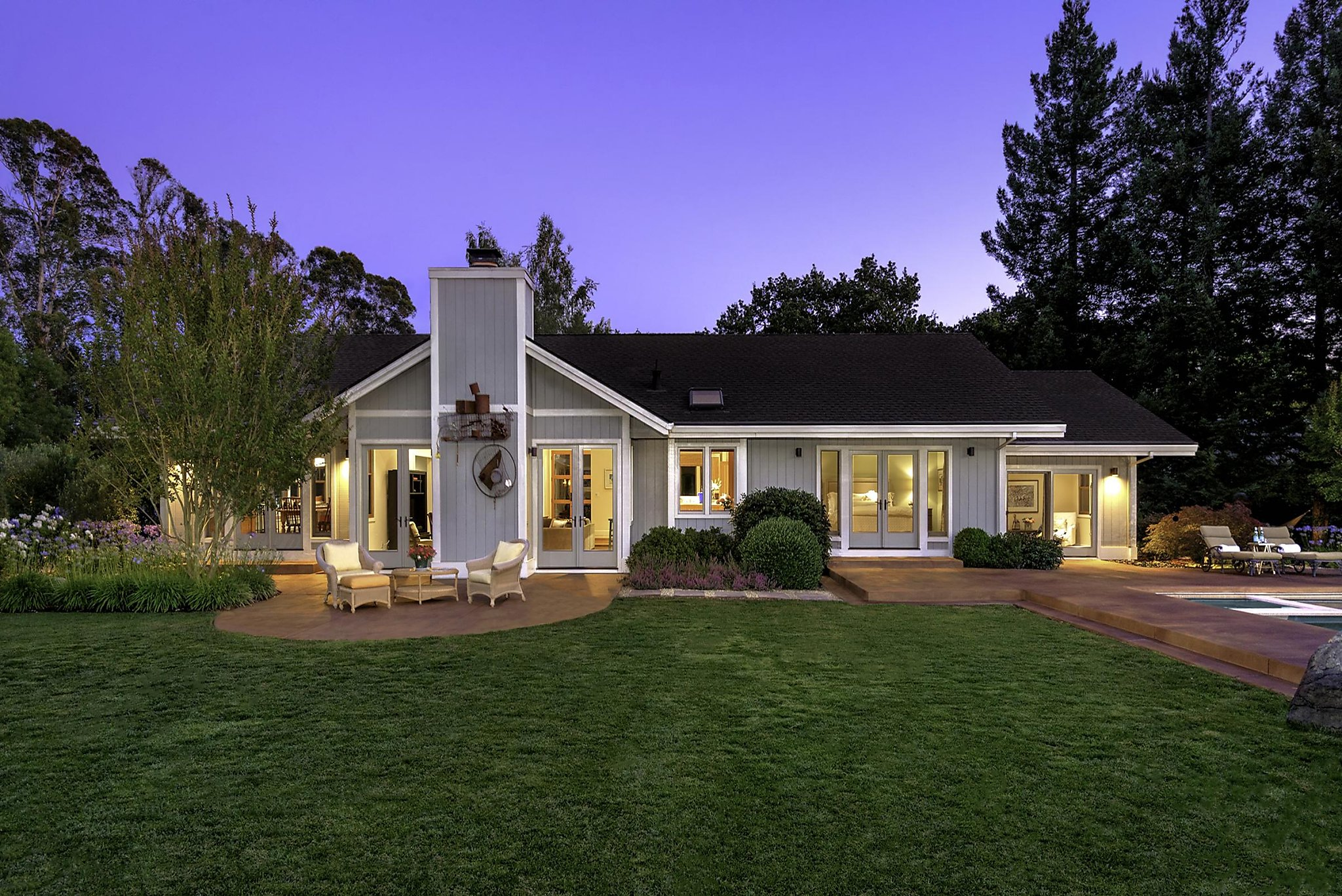 Patios sparkling pool await outside custom wine country for Custom country homes
