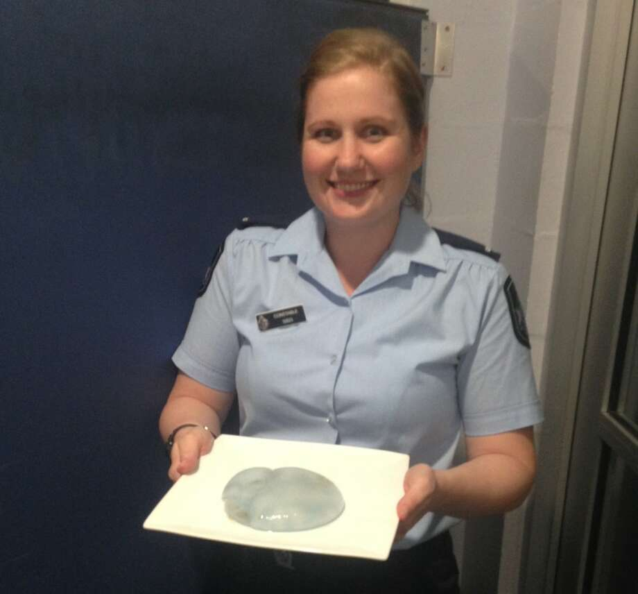 Police at a Queensland, Australia station were surprised by a concerned citizen who thought he'd found a breast implant from a crime scene. It was a jellyfish. Photo: Maroochydore Police Service