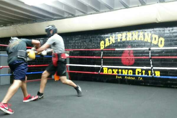 Boxers work out at venerable San Fernando Gym in San Antonio in 2016.