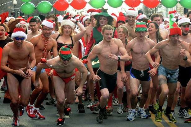Santa Speedo Sprint to benifit the Albany Damien Center in Albany. ( Michael P. Farrell/Times Union)