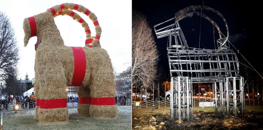 A Christmas goat display in Sweden was recently burned down for the 36th time.Click through to see memes about Christmas.Photo credit:AFP/Stringer/Getty
