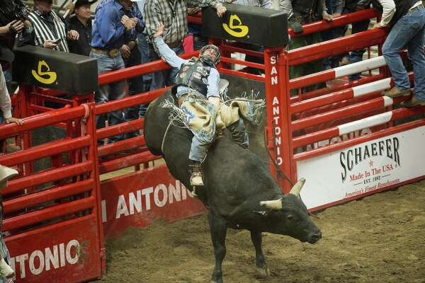 Scottie Knapp rides his bull during the Extreme Bull Riding at the San Antonio Stock Show and Rodeo in February. The rodeo won the PRCA Large Indoor Rodeo of the Year award for the 12th consecutive year.