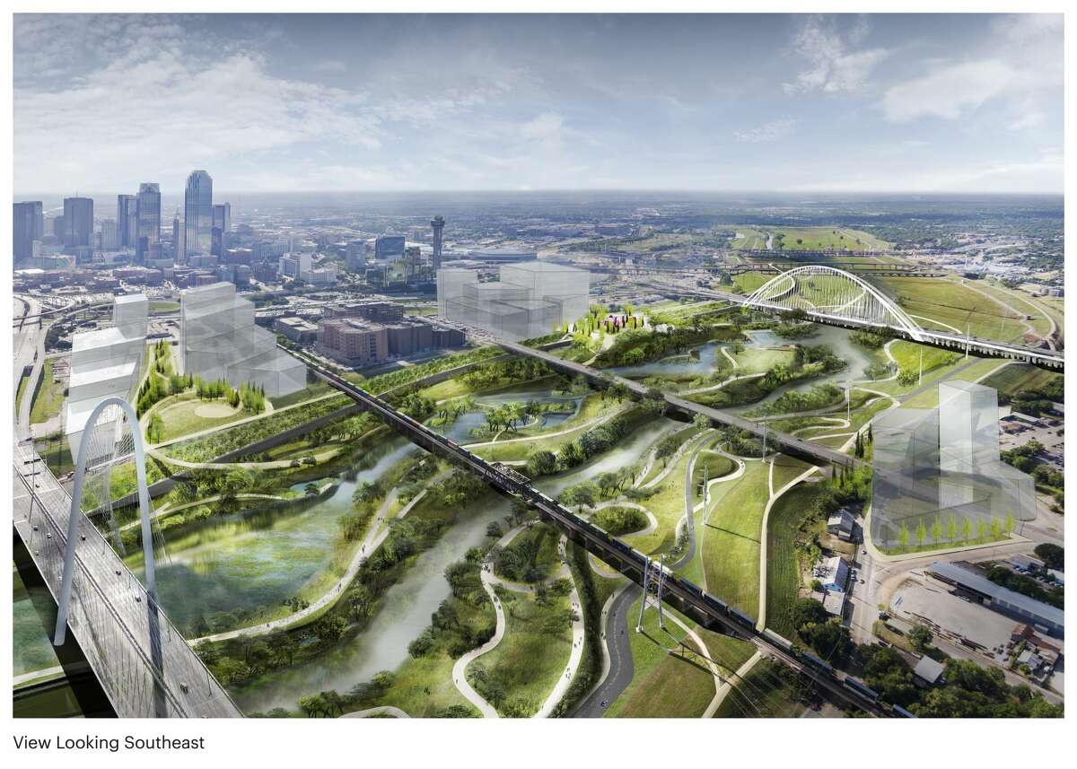 The Trinity River Park concept in the Trinity River floodway looking southeast. Two elevated overlook parks are located on the downtown side at Riverfront Boulevard and Reunion Boulevard. One elevated overlook park is located on the west side at Commerce Street. The river meanders in a more naturalized state with a varying river landscape including trails running throughout the corridor.