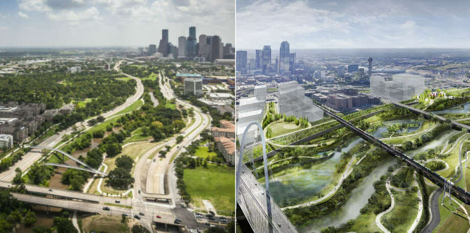 Houston's Buffalo Bayou Park (left) next to the future Trinity River Park (right) look quite similar. Photo: Houston Chronicle Staff / Michael Van Valkenburgh Associates