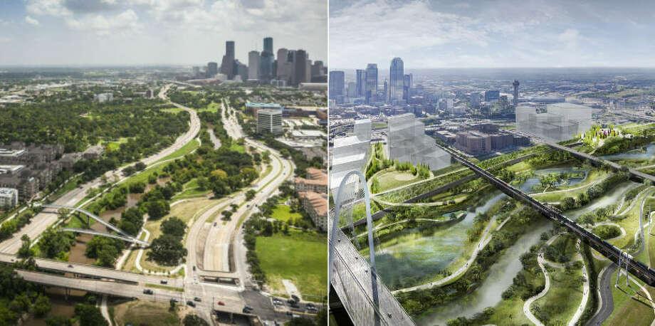 Houston's Buffalo Bayou Park (left) next to the future Trinity River Park (right) look quite similar. Photo: Houston Chronicle Staff / Michael Van Valkenburgh Associates
