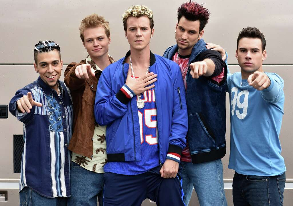 "Out of sync: (L to R) Frankie Cena as ""Chris Kirkpatrick"", Connor Paton as ""Lance Bass"", Nathan Keyes as ""Justin Timberlake"", Matt Visser as ""Joey Fatone"" Zac Vran as ""JC Chasez."" Photo: Jenna Berman"