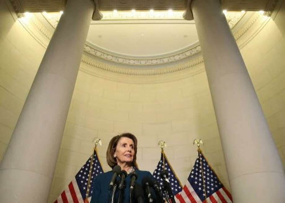 House Minority Leader Nancy Pelosi meets media after vote. Photo: Mark Wilson, Getty Images