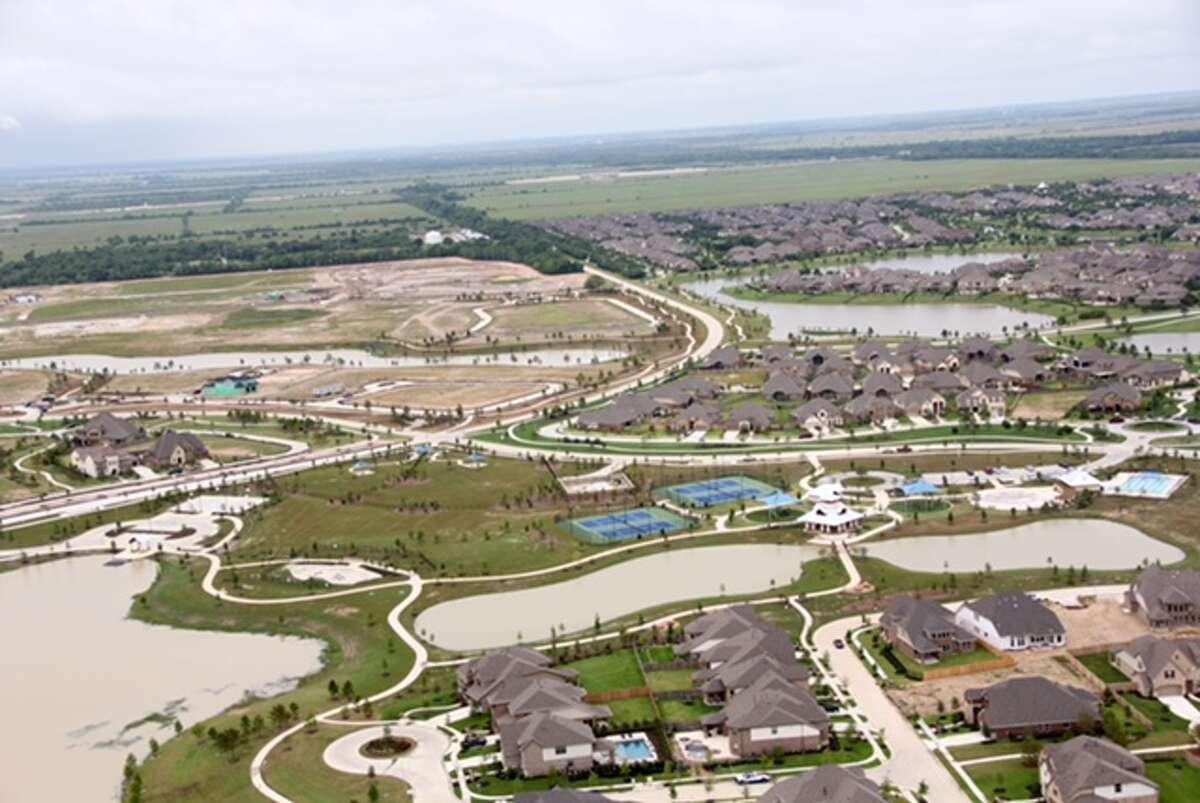 An aerial view of Lakeland Park and Hidden Creek communities in Bridgeland.