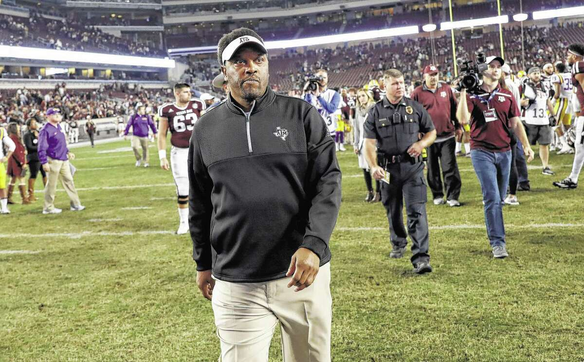 Texas A&M coach Kevin Sumlin leaves Kyle Field after losing to LSU in an NCAA college football game Thursday, Nov. 24, 2016, in College Station, Texas. LSU won 54-39. (AP Photo/David J. Phillip)