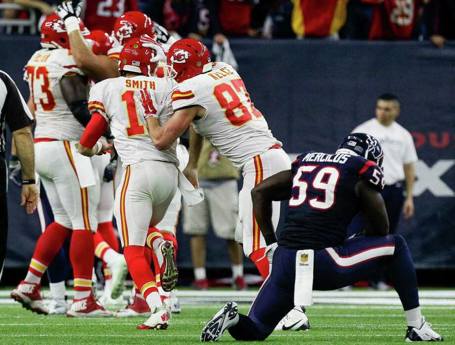 Houston Texans outside linebacker Whitney Mercilus (59) looks on as the Kansas City Chiefs celebrate a touchdown during the second half of the AFC Wildcard playoff game at NRG Stadium Saturday, Jan. 9, 2016, in Houston. The Houston Texans lost 30-0 to the Kansas City Chiefs. ( Michael Ciaglo / Houston Chronicle ) Photo: Michael Ciaglo, Staff / © 2016  Houston Chronicle