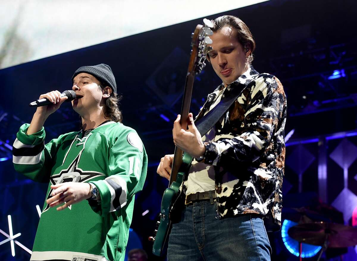 Recording arists Lukas Graham Forchhammer and Magnus Larsson of music group Lukas Graham perform onstage at 106.1 KISS FM's Jingle Ball 2016 presented by Capital One at American Airlines Center on November 29, 2016 in Dallas, Texas.