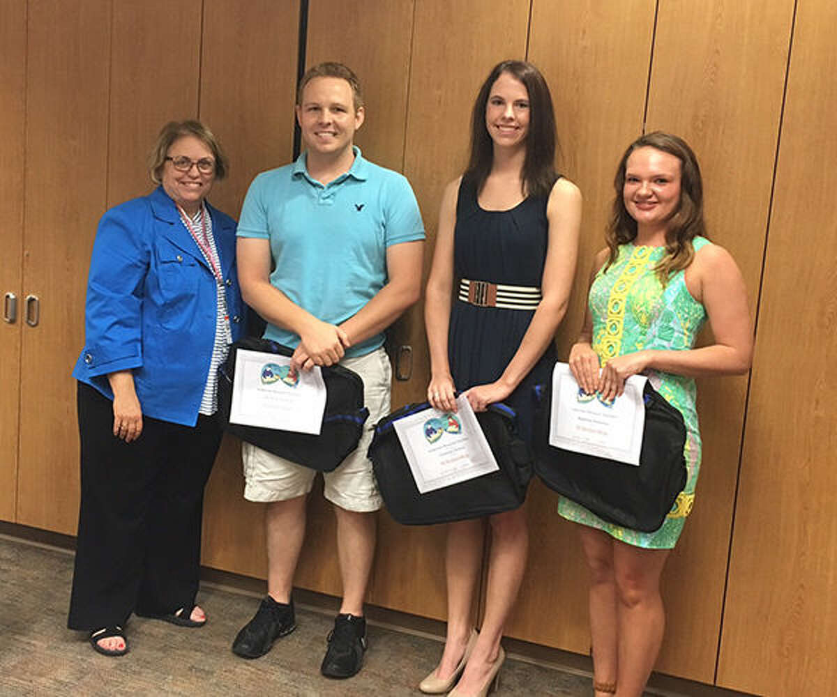 Judy Eft, Auxiliary Scholarship Chair; Derek Sonnenberg; Courtney Deiters; and Madeline Remelius.