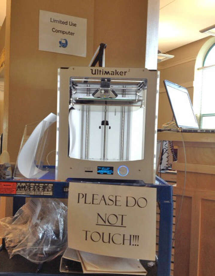 The 3-D printer at the Edwardsville Public Library.