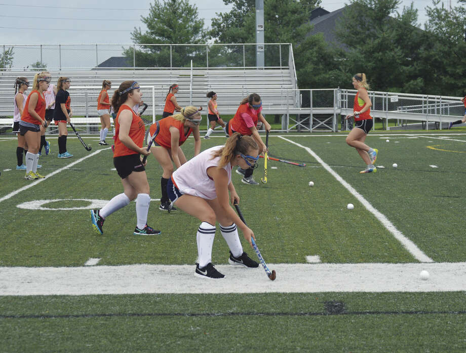 The Edwardsville field hockey team practices Monday at the District 7 Sports Complex. The Tigers begin the season Sept. 2.