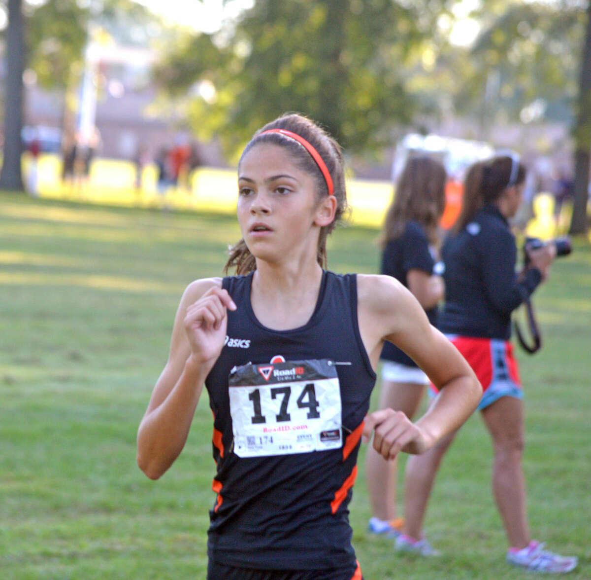 Edwardsville freshman Abby Korak runs on Saturday in the girls' varsity race at the Granite City Invitational.