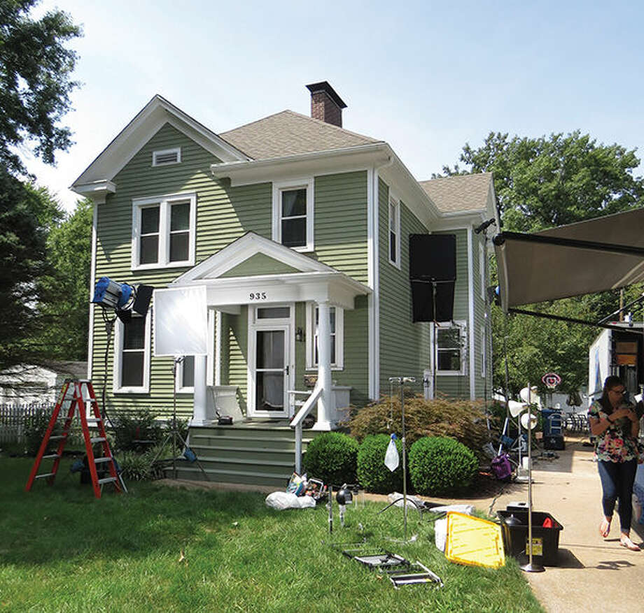 The house on Hale Avenue during filming.