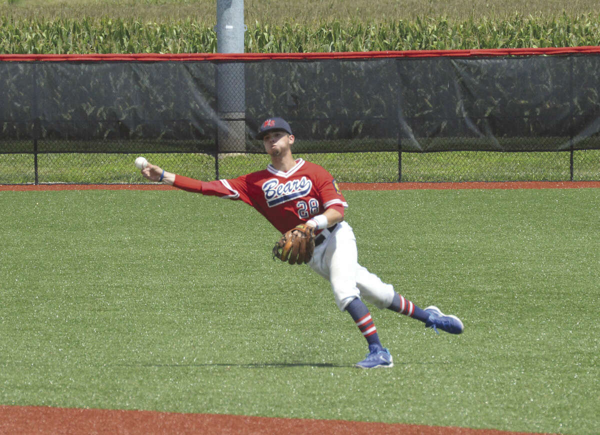 Bears second baseman Mitchell Krebs throws a runner out from shallow right field during Sunday's game against Rockport (Ind.) at Roy E. Lee Field at SIUE.