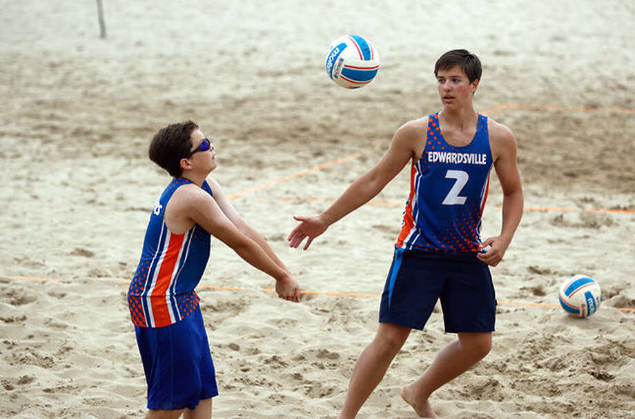 Max Sellers, left, and Josh Whittenburg, both from Edwardsville, compete in the USA Volleyball Junior Beach Tour National Championships, held July 21-22 in Milwaukee.