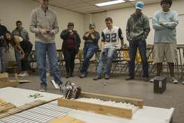 Alexis Borunda with Team Skillz That Killz, navigates their robot through the obstacle course Thursday 12-01-16 as part of the Introduction to Engineering class at Midland College. Tim Fischer/Reporter-Telegram