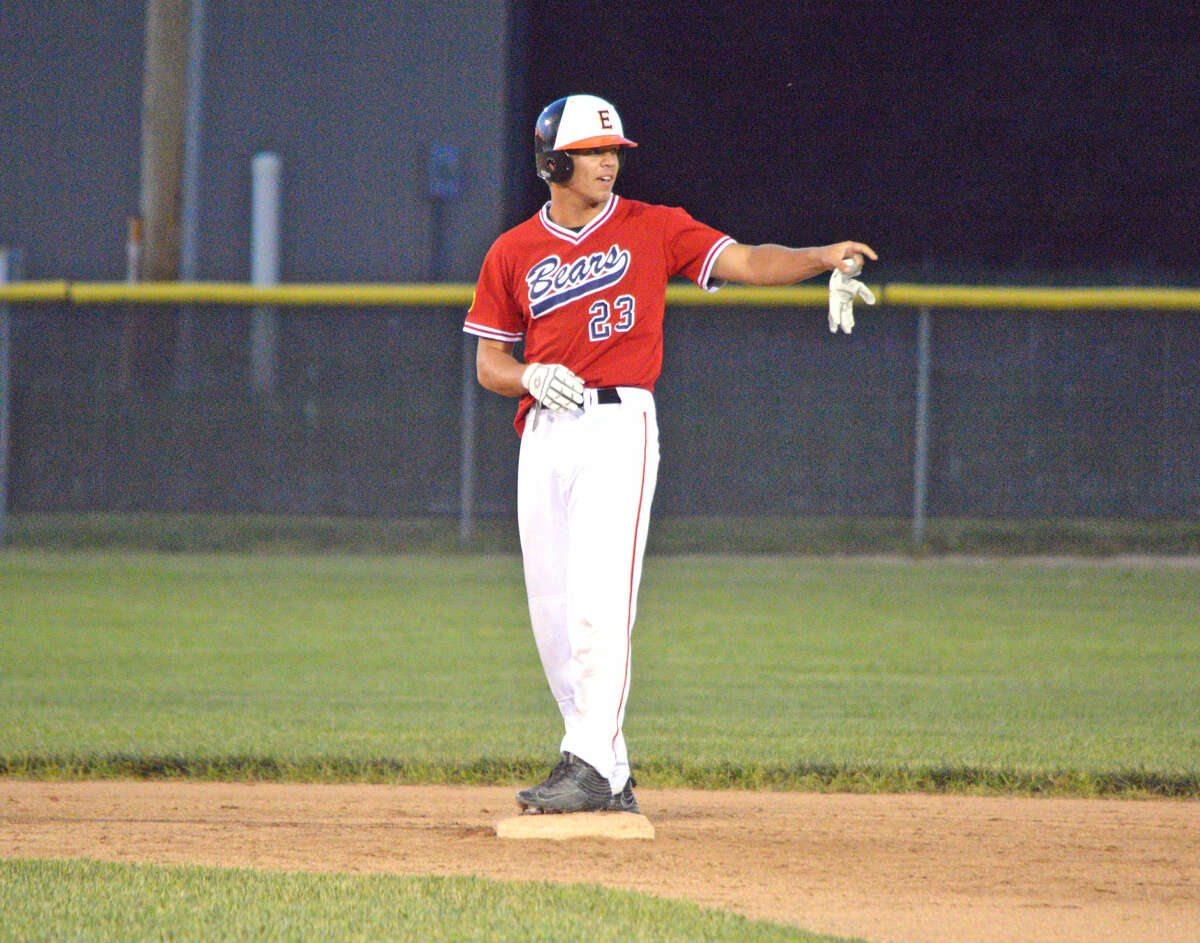 Jake Garella of the Edwardsville/Alton Bears stands at second base after a one-out double in the top of the first inning in Thursday's second-round District 22 tournament game against Highland at Glik Park