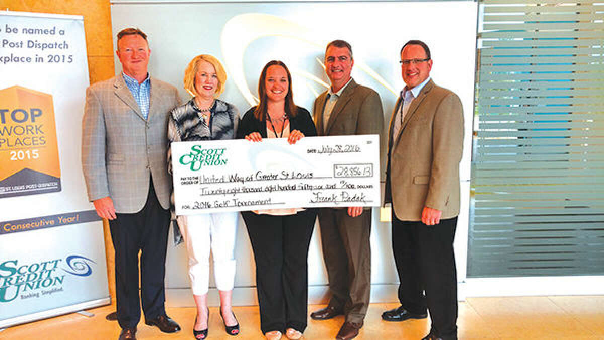 Representatives from Scott Credit Union presented a check recently for over $28,000 to Jay Korte, this year's Campaign Chair for the Southwest Illinois Division of the United Way of St. Louis. The money was raised during Scott Credit Union's 10th annual golf tournament fundraiser held in May at The Orchards Golf Course in Belleville. Pictured are, from left, Scott Credit Union President & CEO Frank Padak, United Way Illinois Region Director Maura Wuellner, SCU Community Relations Supervisor Jennifer Hess, United Way Campaign Chair Jay Korte and SCU Chief Marketing Officer Adam Koishor.