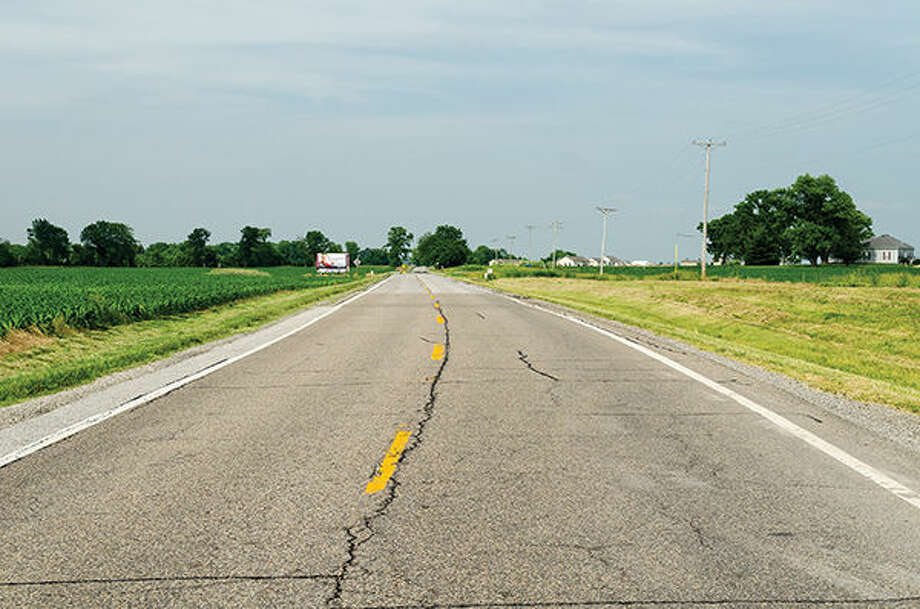Route 66 rolls northward toward Hamel and points beyond.