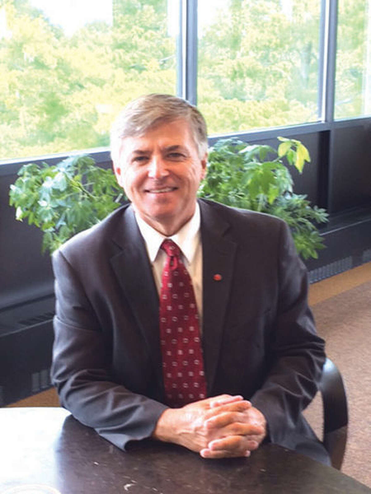 New SIUE Chancellor Randall Pembrook in his office.