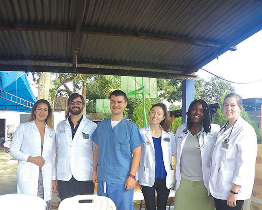 From left are: Dr. Misty Gonzalez, clinical associate professor in the Department of Pharmacy Practice at SIUE, student Thomas Kelly, Dr. Franklin Harry with the Preferred Podiatry Group, and students Regan Kitchens, Yasmyn Knight and Janet Ellis.