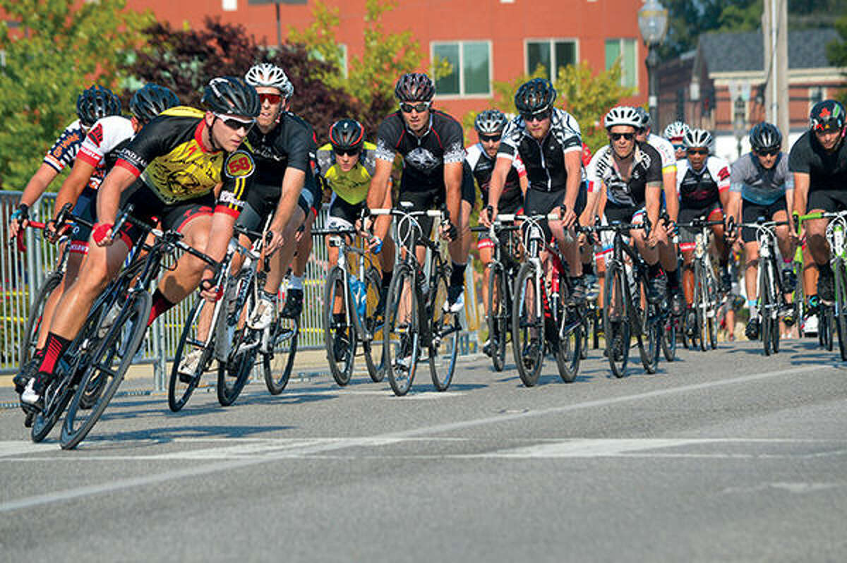 Cyclists prepare to turn on to Benton Street from Vandalia Street near TheBANK of Edwardsville during the sixth year of the event. TheBANK of Edwardsville Rotary Criterium Festival returns Aug. 20.