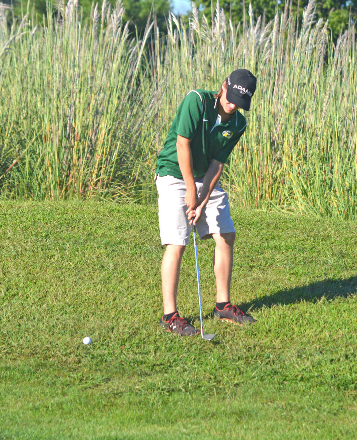 Metro-East Lutheran senior Lucas Scheibal hits a chip shot on hole No. 7 at Timber Lakes Golf Course during Monday's dual match against Staunton.