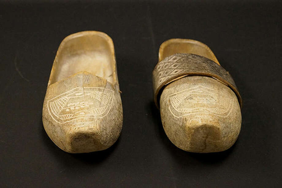 Wooden shoes worn by a prisoner at the Dachau concentration camp.