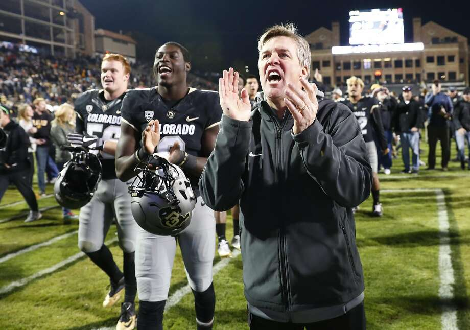 Four years after inheriting a one-win Colorado team, Mike MacIntyre has taken the No. 9 Buffaloes to a 10-2 overall record and their first league championship game since 2005. Photo: David Zalubowski, Associated Press