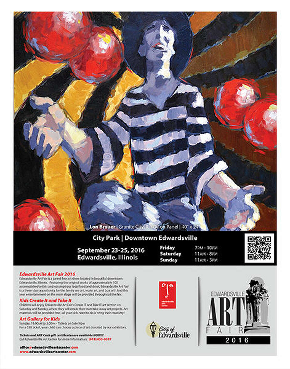 The is the poster for the 2016 Edwardsville Art Fair. The event begins Friday in City Park. Activities will continue Saturday and Sunday at the event, which is presented by the Edwardsville Arts Center.