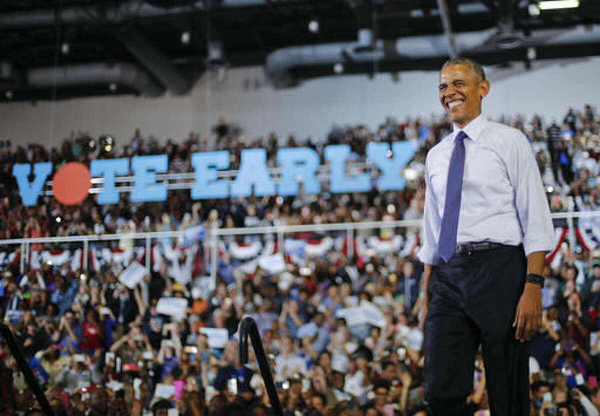 President Barack Obama smiles as he arrives to speak at a campaign rally for Democratic presidential candidate Hillary Clinton, Thursday, Nov. 3, 2016, at the University of North Florida in Jacksonville, Fla. (AP Photo/Pablo Martinez Monsivais)