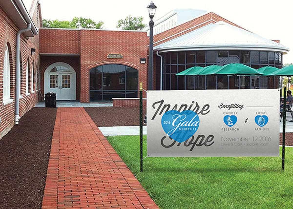 A banner advertising Allison's HOPE Inspire Hope Gala Benefit on Nov. 12 has been placed outside the host site at Lewis and Clark Community College's N.O. Nelson Campus.
