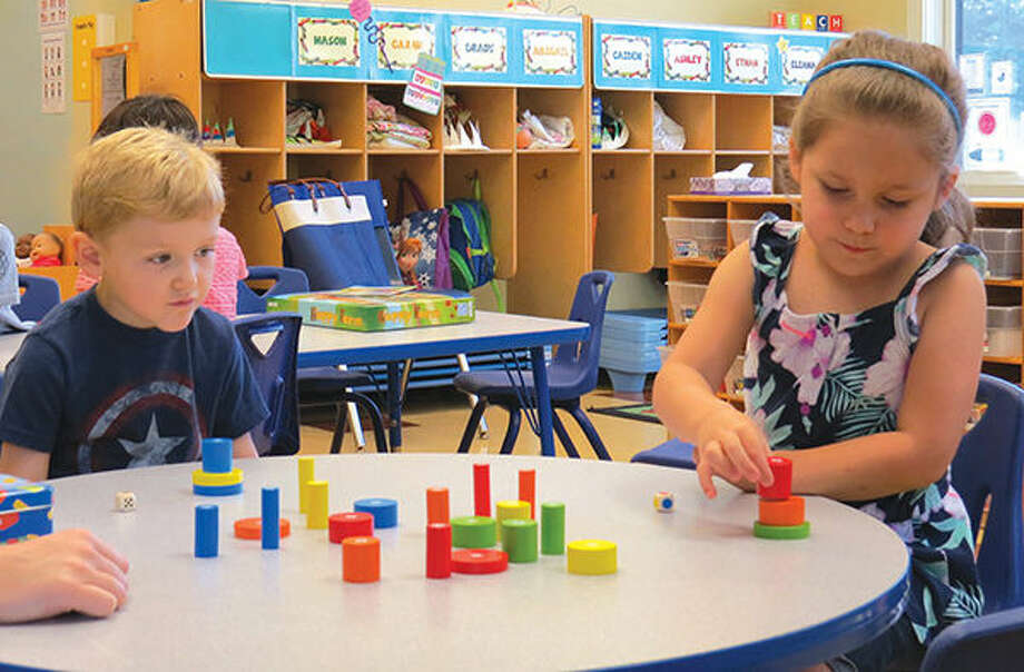 Students at the Goddard School play with blocks as part of the ninth annual toy test.