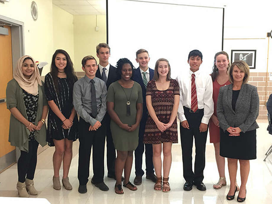 EHS students from left are: Mehak Baig, Lea Hein, Michael Taplin, Jared Engeman, Montrice Spencer, Ian McLean, Lily Grieve, Jason Pan, Mary Webb and assistant principal Jennifer Morgan.