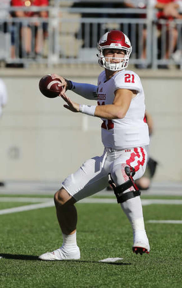 Indiana quarterback Richard Lagow drops back to pass against Ohio State during the first half of an NCAA college football game Saturday, Oct. 8, 2016, in Columbus, Ohio. (AP Photo/Jay LaPrete)