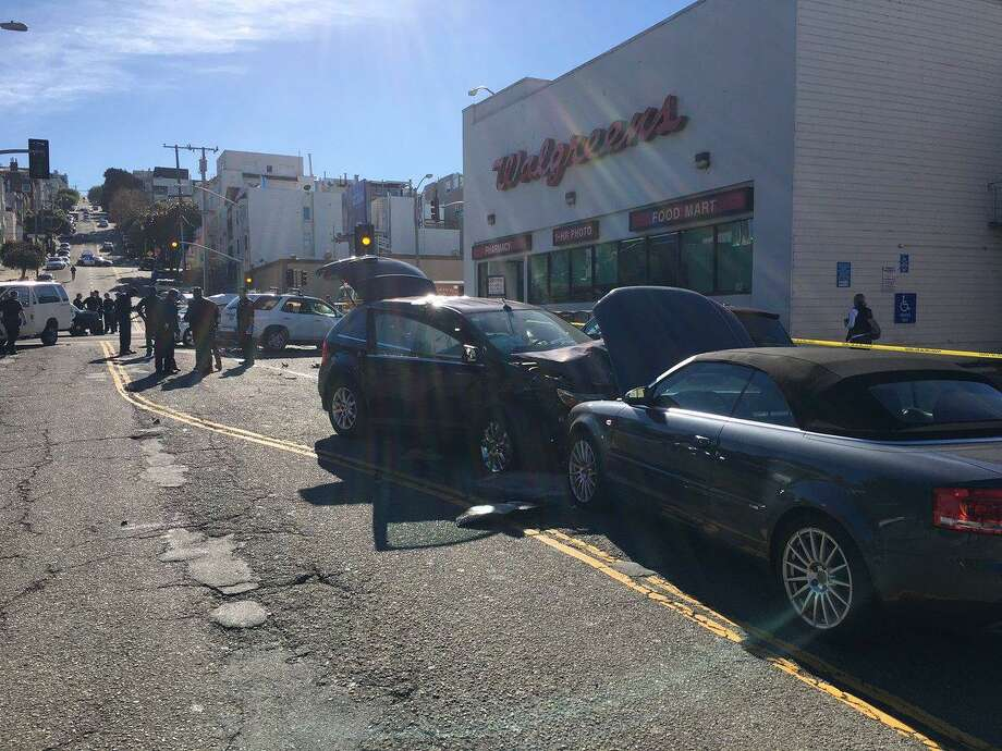 Five people were injured, including two left in life-threatening condition, after a four-car crash at Divisadero and Lombard streets in San Francisco on Thursday, officials said. Photo: San Francisco Fire Department /