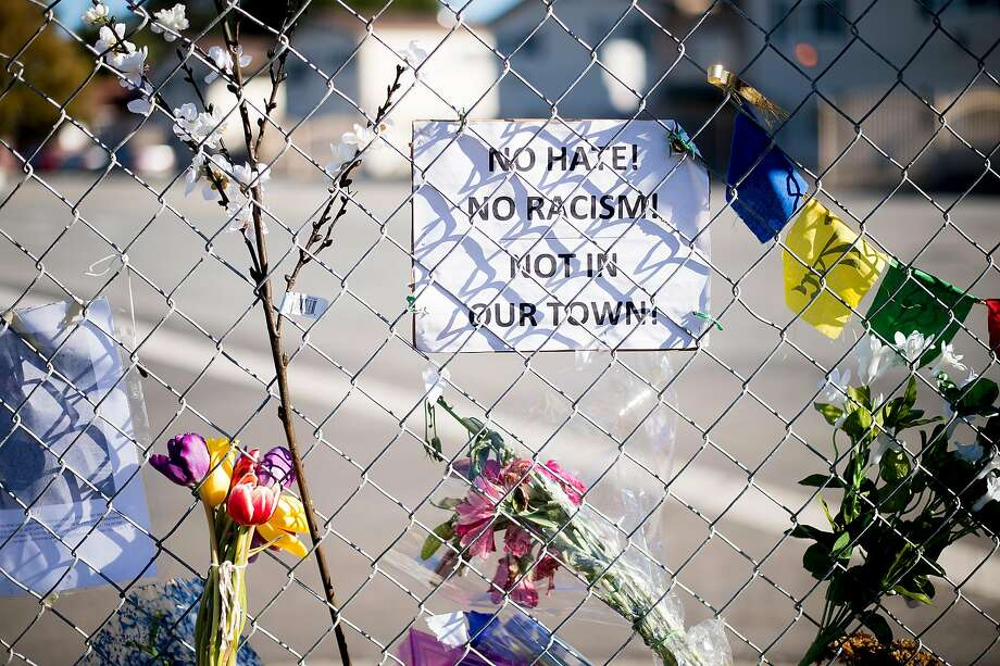 A December memorial honors William Sims of Richmond, who was beaten to death outside an El Sobrante pool hall in November. Investigators believe Sims was killed because he was black. Photo: Noah Berger, Special To The Chronicle