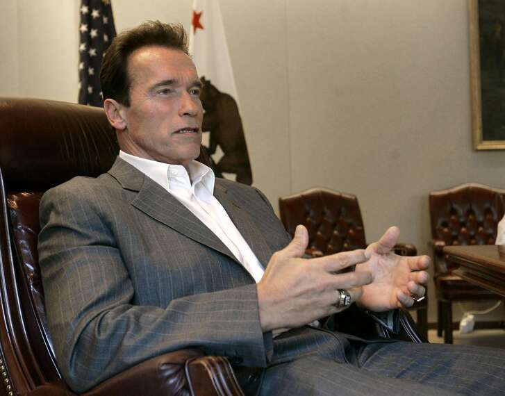 Gov. Arnold Schwarzenegger discusses the state budget stalemate during an interview with the Associated Press in his Capitol office in Sacramento, Calif., Tuesday, Aug. 19, 2008. (AP Photo/Rich Pedroncelli)