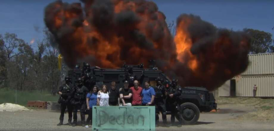 """Make-A-Wish Australia granted a wish for Declan, a 12-year-old boy who battled leukemia, in November to """"blow stuff up."""" Photo: Courtesy/ACT Policing"""