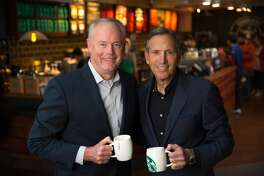 Starbucks COO Kevin Johnson, left, will become chief executive officer and assume full responsibility for Starbucks global business and operations, while Howard Schultz, right, will shift his focus to innovation, design and development of Starbucks Reserve Roasteries around the world, effective April 3, 2017.