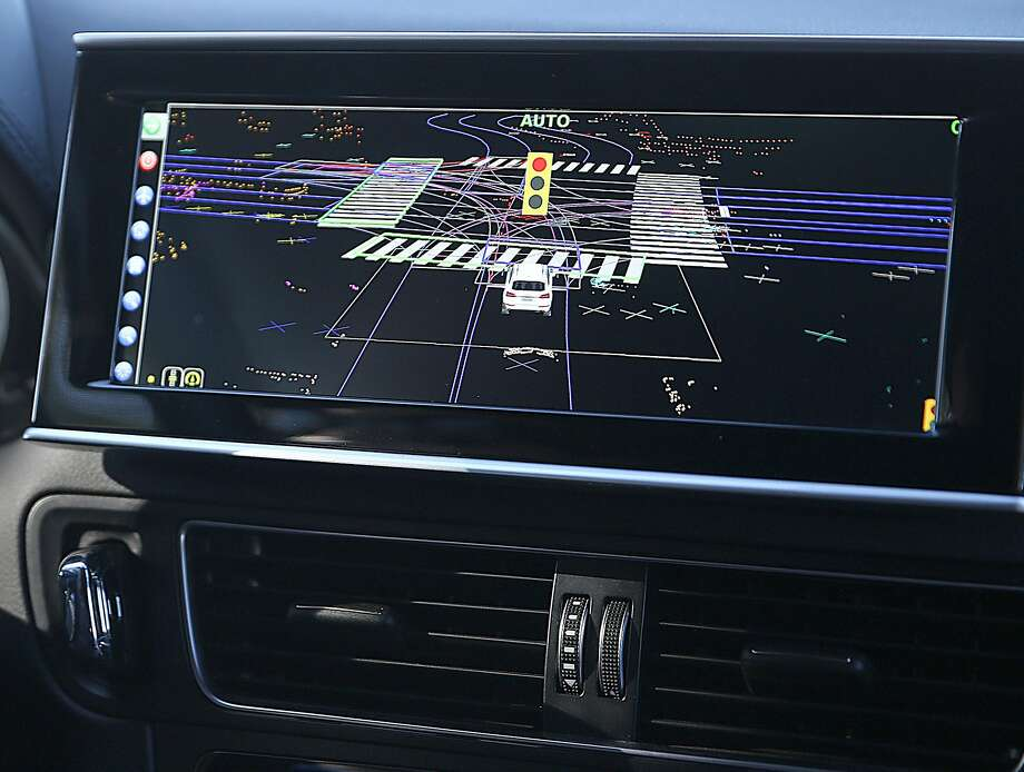 The dashboard in the Delphi self-driving car displays information about the surroundings. Photo: Liz Hafalia, The Chronicle