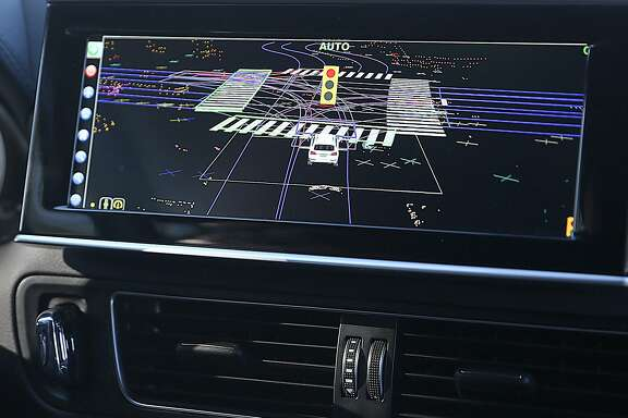 Close up of part of the coverage this Delphi self driving car can view while on a test drive on Thursday, December 1, 2016,  in Mountain View, Calif.  Delphi is one of the world's largest makers of automotive parts.