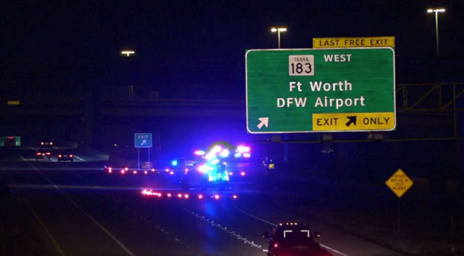 An accident on the President George Bush Turnpike at the Airport Freeway in Irving reportedly claimed the life of a motorcyclist, Nov. 30, 2016. Photo: Screen Grab Via Metro Video