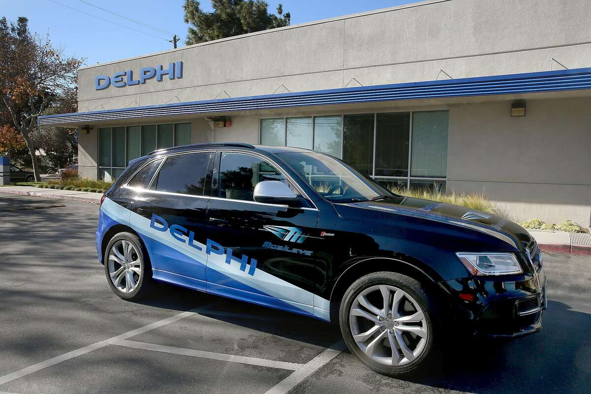 View of the self-driving car built by Delphi on Thursday, December 1, 2016, in Mountain View, Calif. Delphi is one of the world's largest makers of automotive parts.