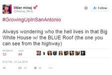 """#GrowingUpInSanAntonio Always wondering who the hell lives in that Big White House w/ the BLUE Roof (the one you can see from the highway),"" @Alexiaa_Minaj."